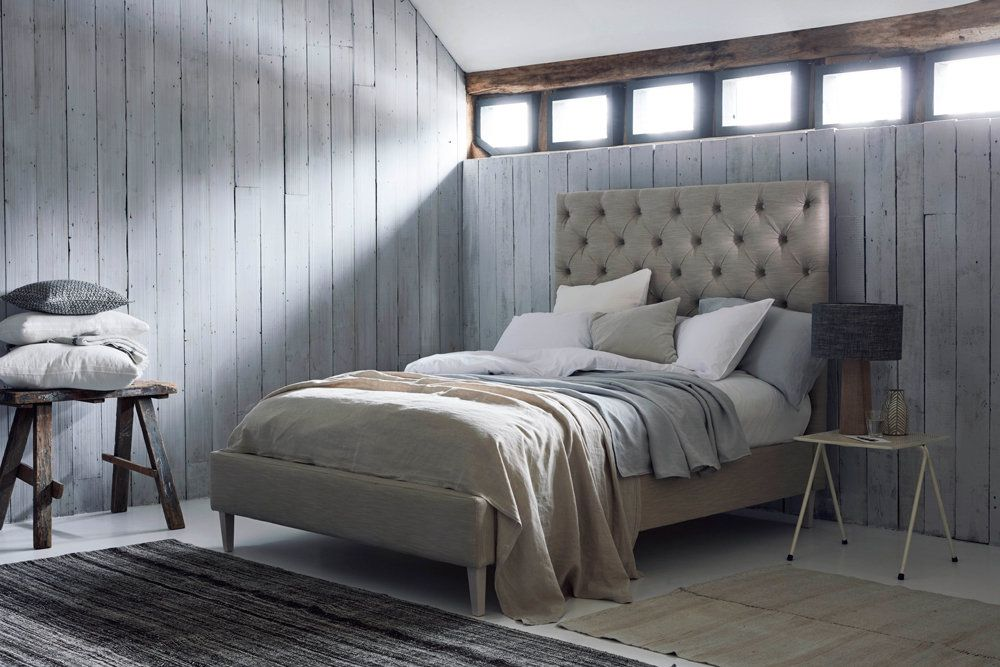 Isabella Modern Upholstered Bed - In Stain Resistant Linen