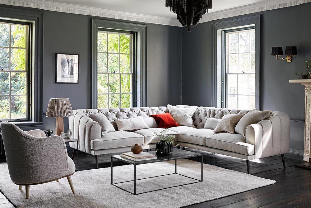 Earl Grey Chesterfield Sofa Symmetrical Corner