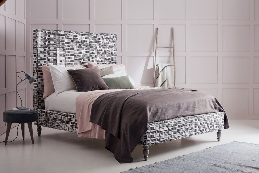 Lola Upholstered Bed in Bespoke Designers Guild Fabric