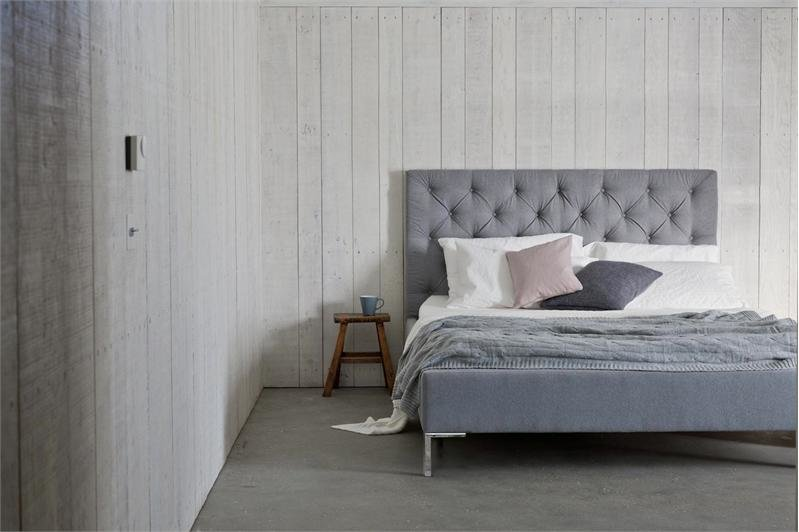 Issie Buttoned Modern Upholstered Bed- Shorter headboard than Isabella at 120cm