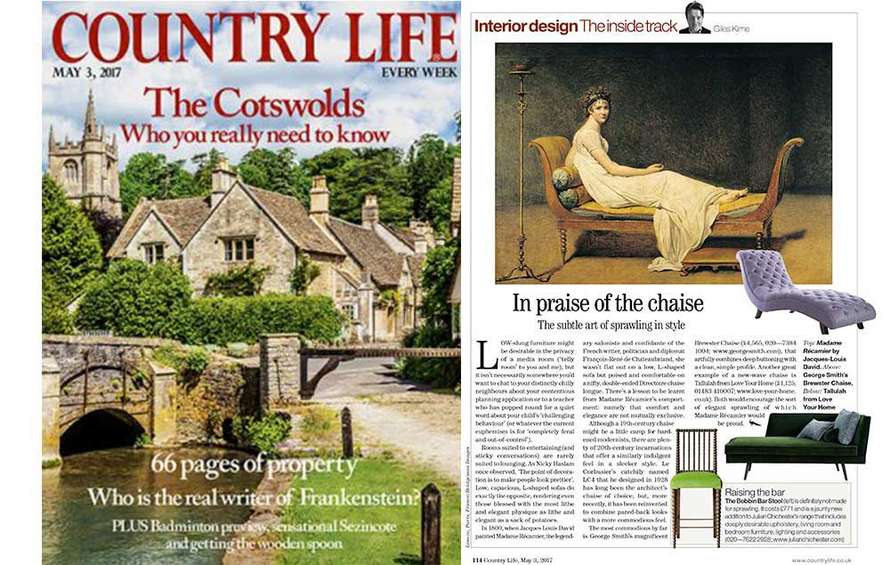 Country Life features Tallulah Chaise Longue