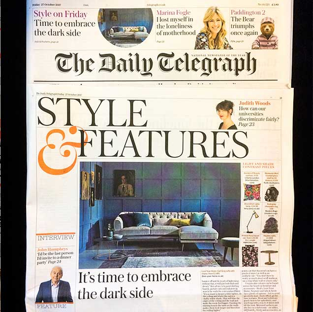 Daily Telegraph features the Earl Grey Chaise Corner Sofa