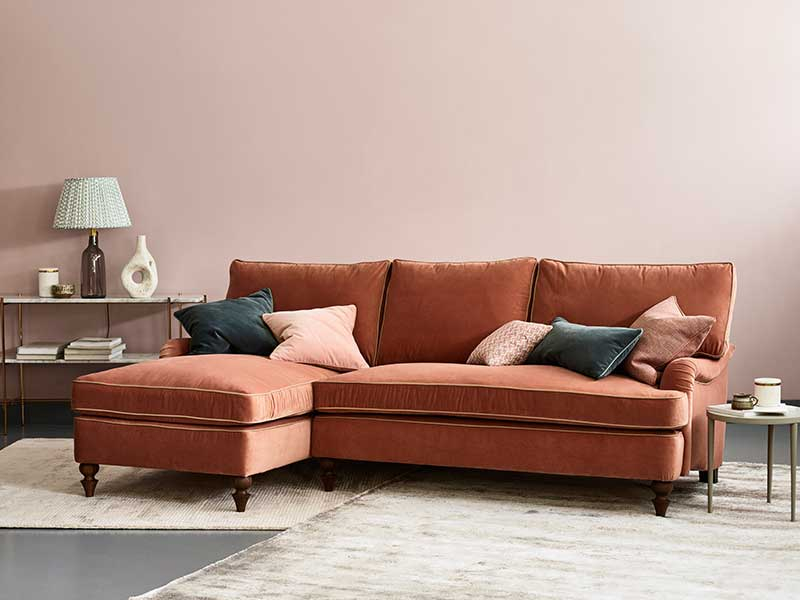 Florence Corner Chaise Sofa in Double Velvet Peanut