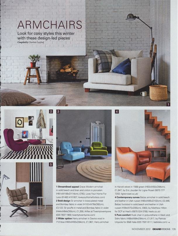 GRAND DESIGNS MAGAZINE - Grace Armchair featured