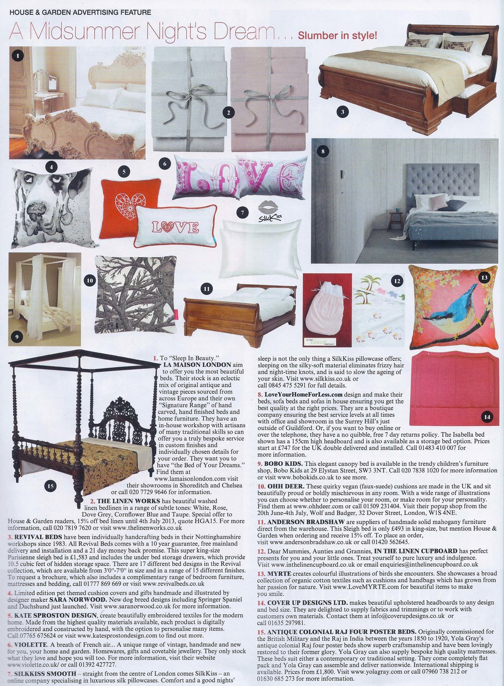 Isabella Upholstered bed featuring in House & Home's 'A Midsummer Night's Dream' Article
