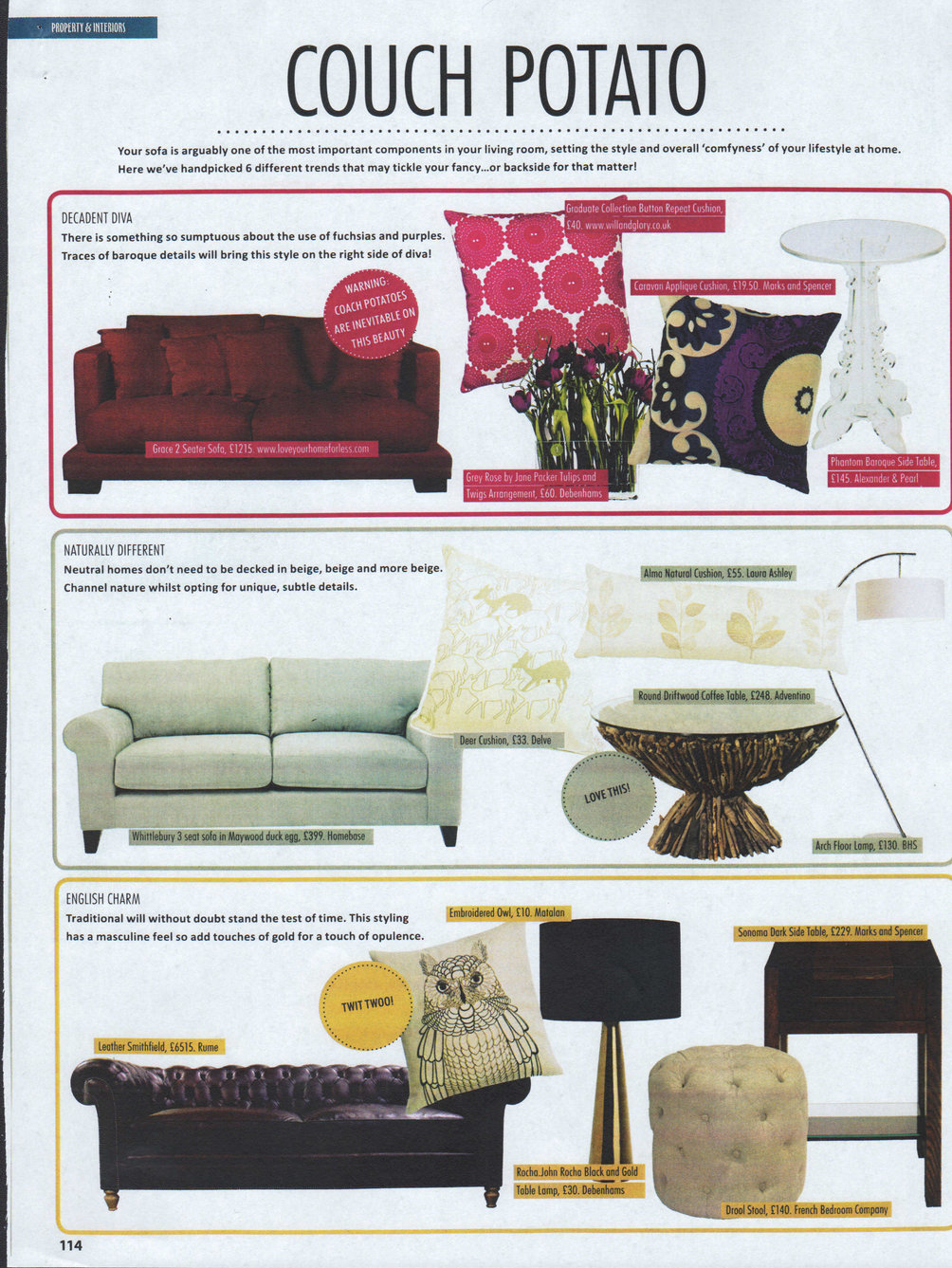 Grace 2 seater sofa makes it into Staffordshire Living