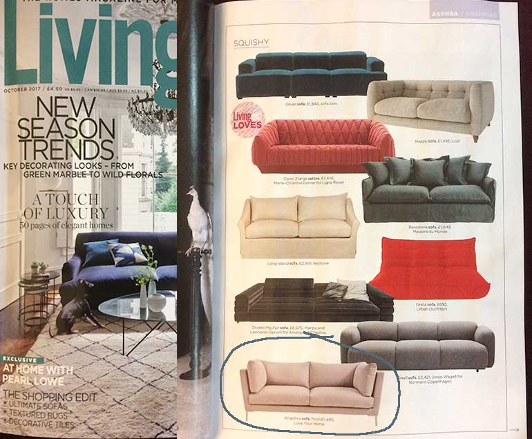 Living Etc features the Angelina Sofa
