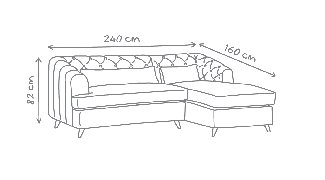 Earl Grey Corner Sofa Bed with Chaise technical drawing