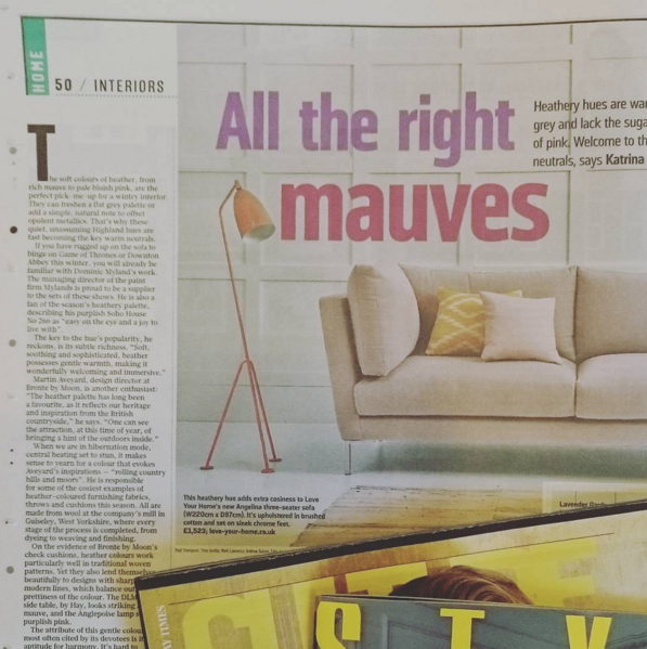 Angelina Sofa in The Sunday Times