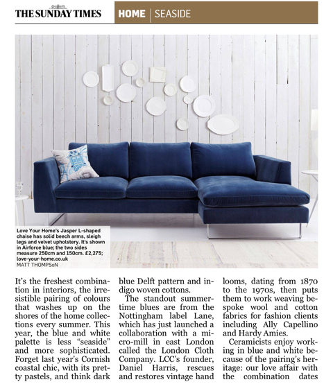 Sunday Times features the Jasper Chaise Corner Sofa