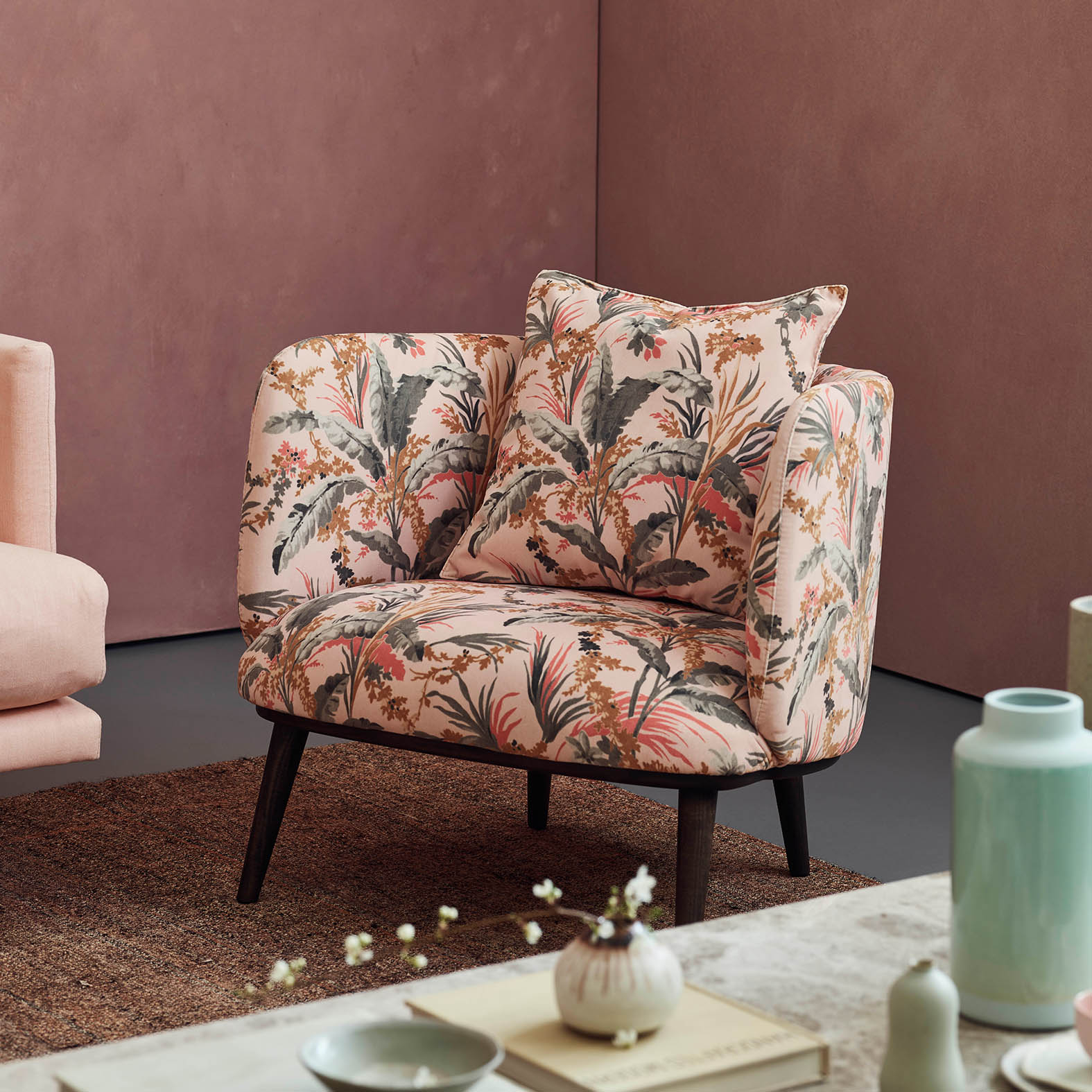 isaac chair in botanical print velvet
