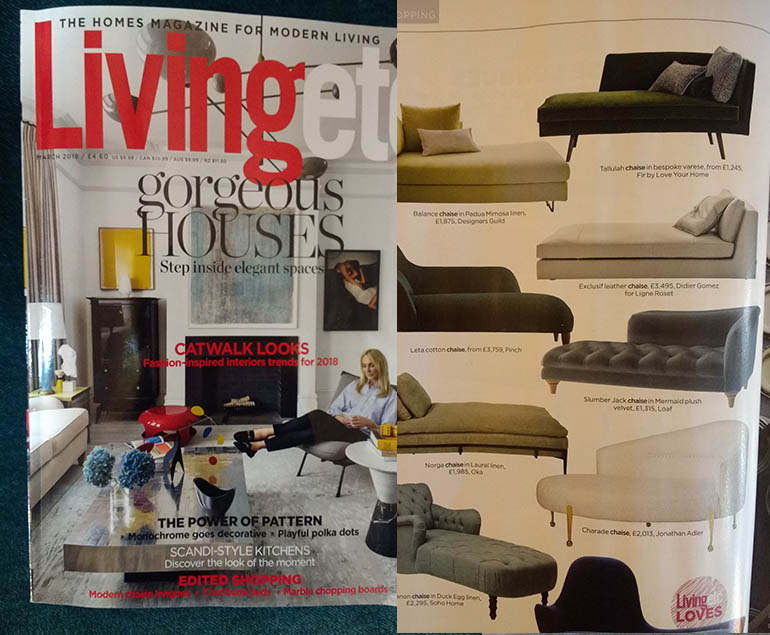 Living Etc features Tallulah Chaise Longue