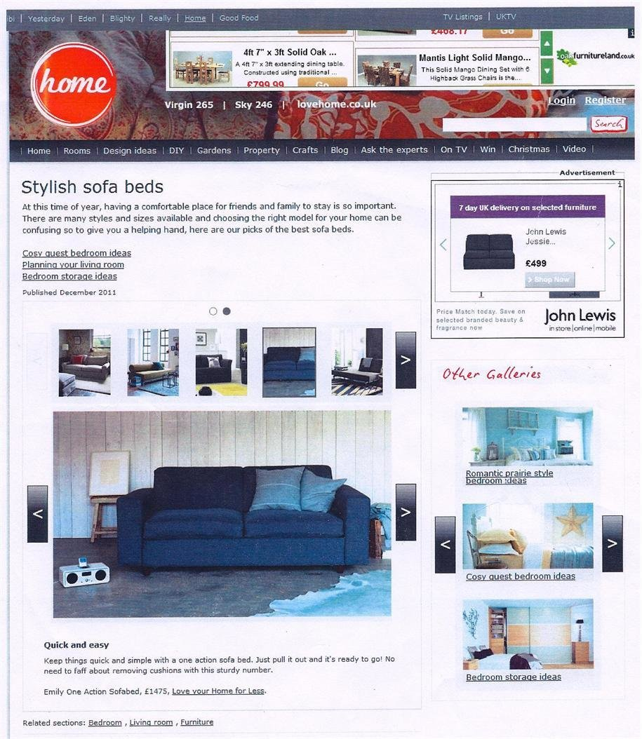 Our Emily Sofa Bed featured on the Home Ezine in December!