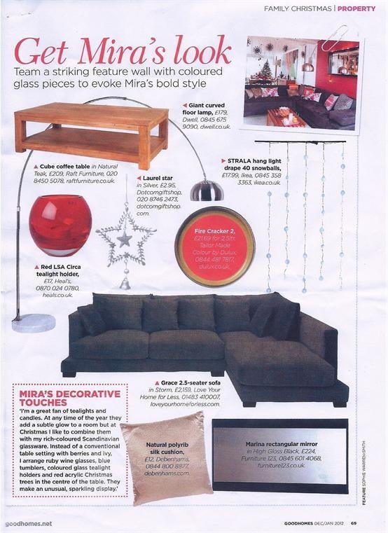 Our Grace Corner Sofa gets a bold feature in Good Homes Magazine