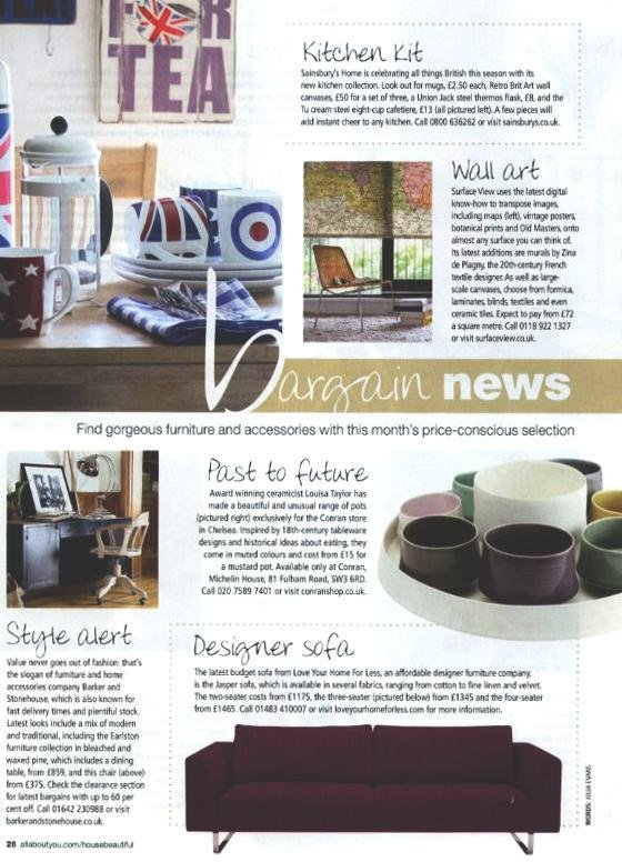 House Beautiful features our Jasper designer sofa!