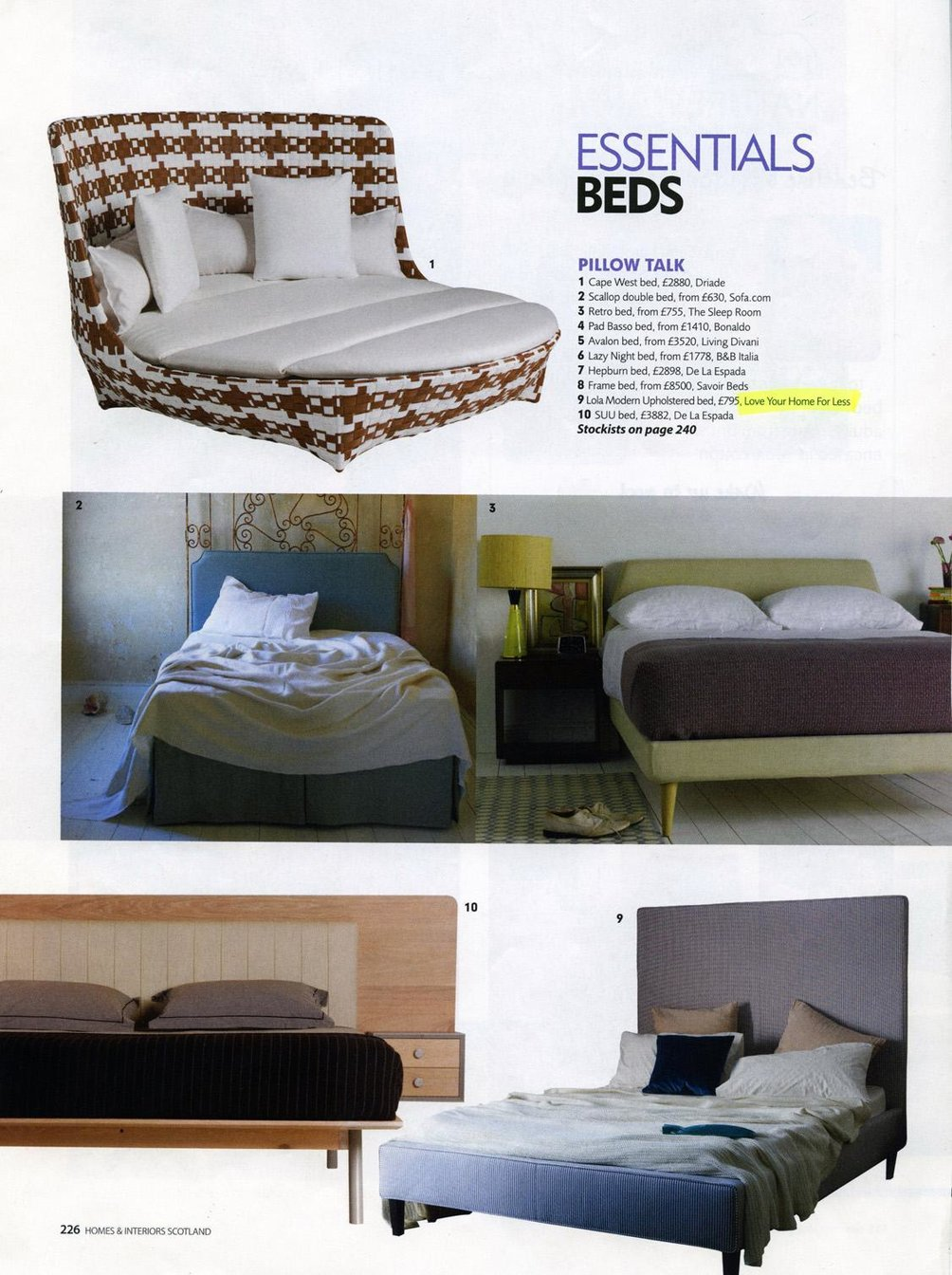 Our Lola Bed is one of Homes & Interiors essentials